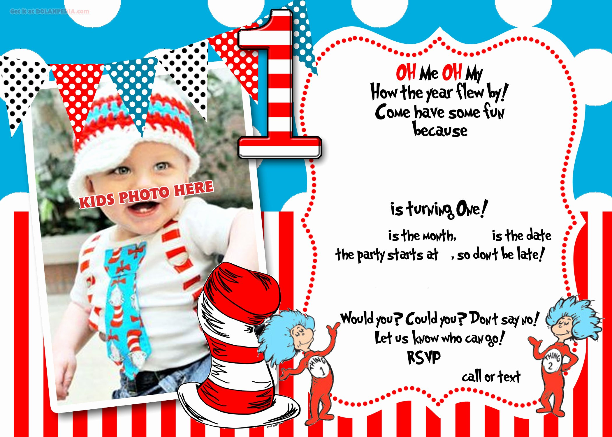 Free Printable Dr Seuss 1st Birthday Invitation Template