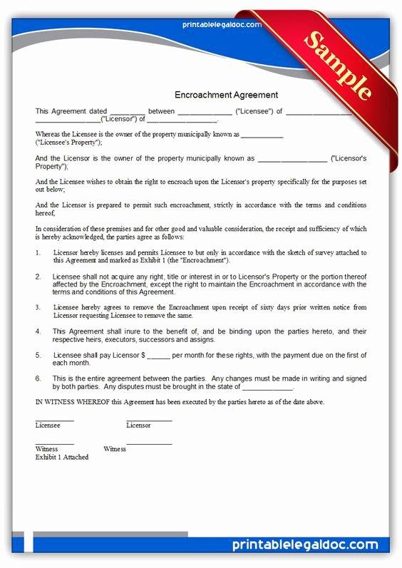 Free Printable Encroachment Agreement