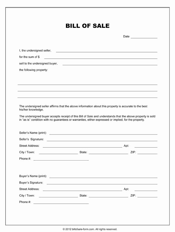 Free Printable Equipment Bill Sale Template form Generic