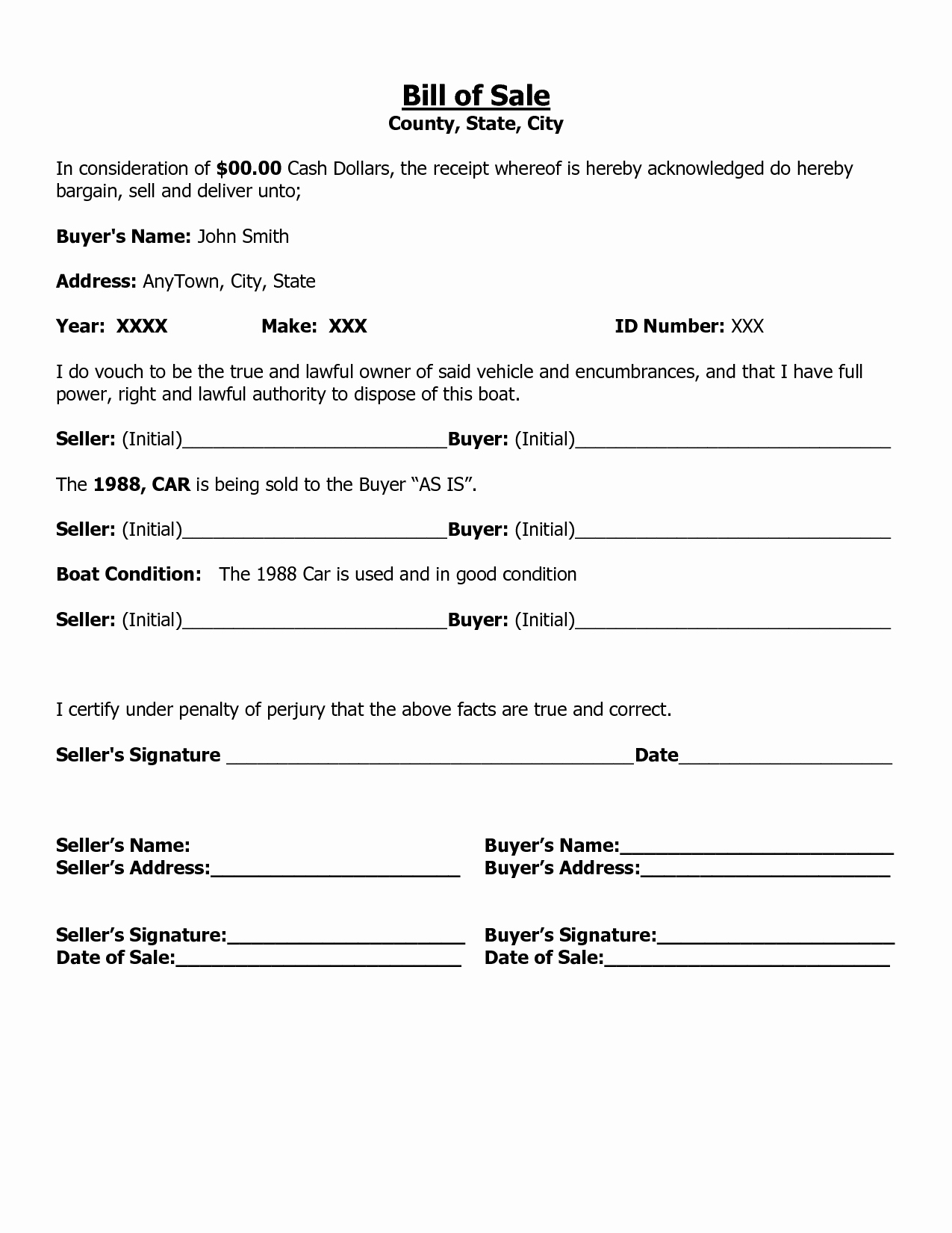 Free Printable Free Car Bill Of Sale Template form Generic