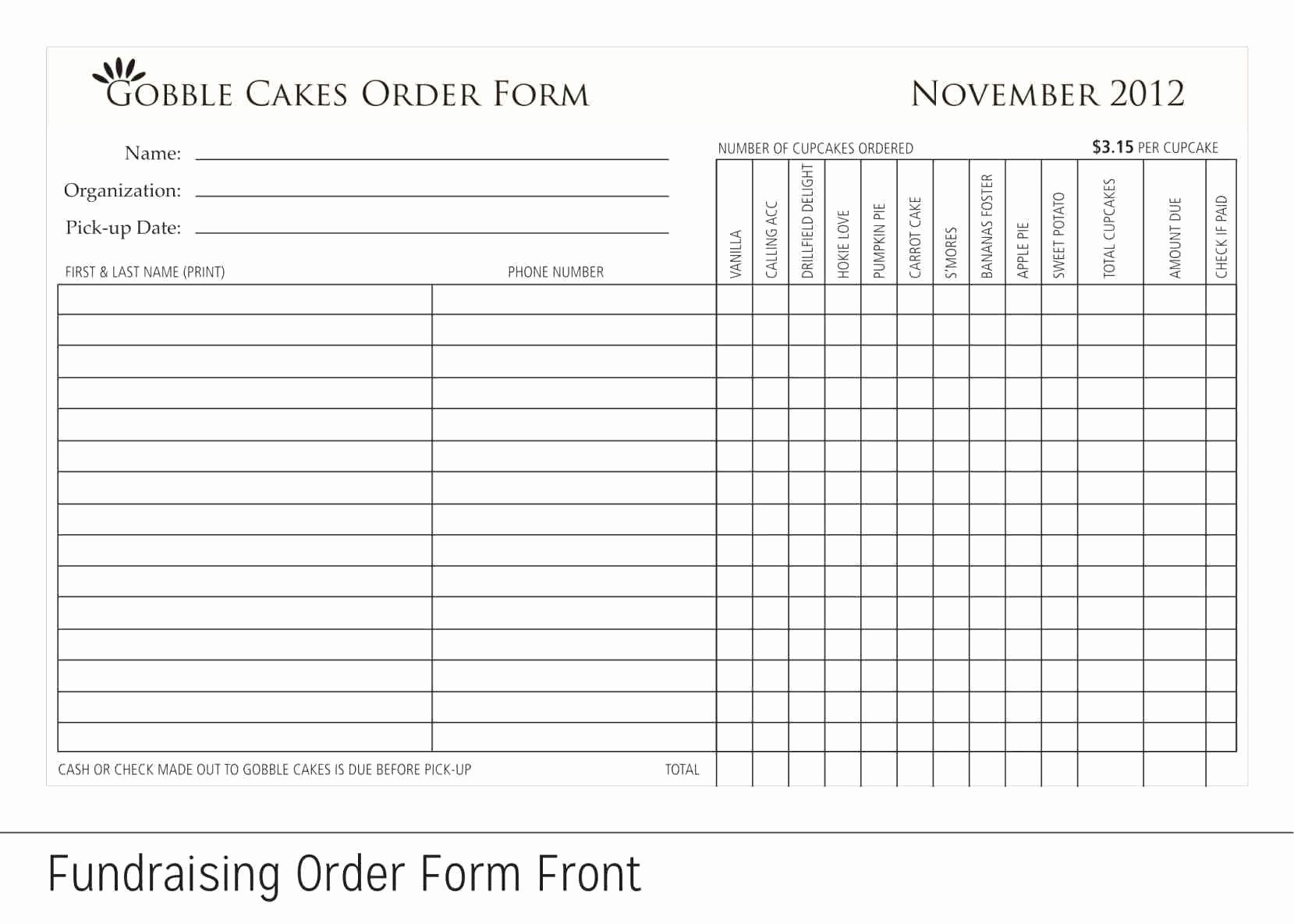 Free Printable Fundraiser order form Template Template