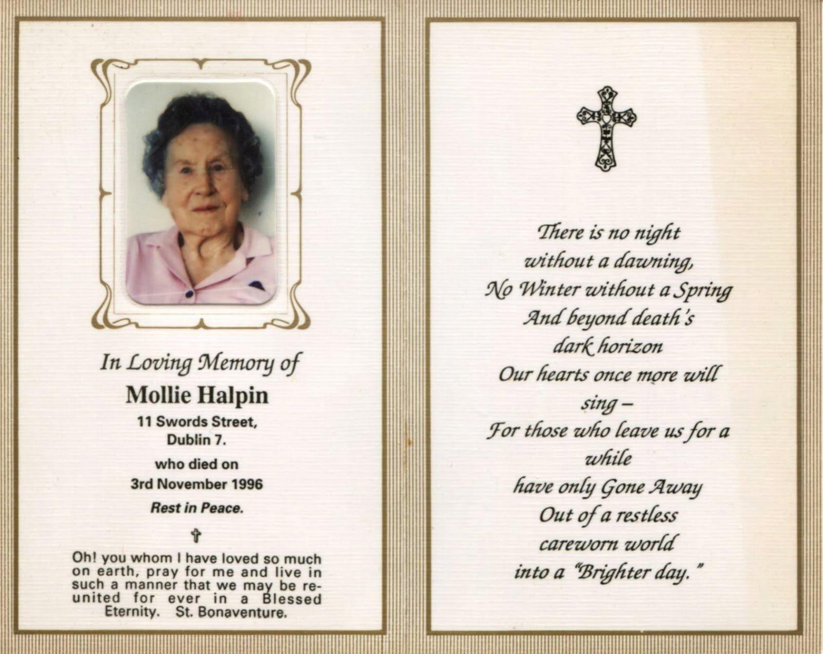 Free Printable Funeral Prayer Card Template Memorial Cards