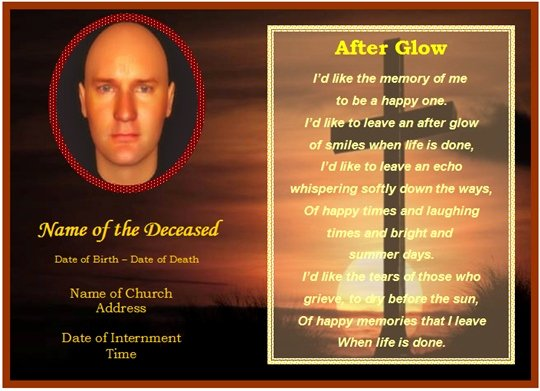 Free Printable Funeral Prayer Card Template