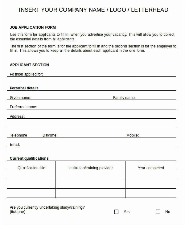 Free Printable Generic Job Application form