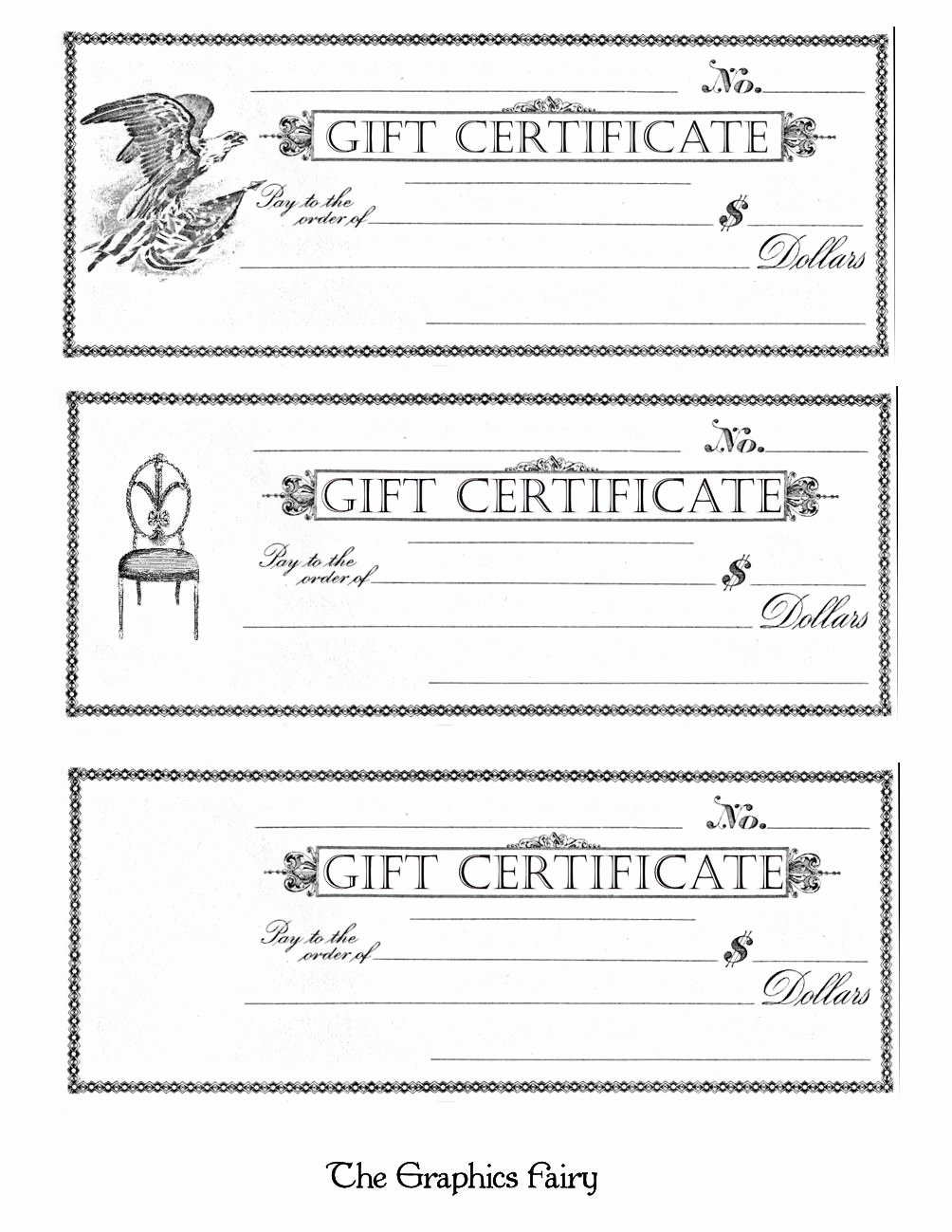 Free Printable Gift Certificates the Graphics Fairy
