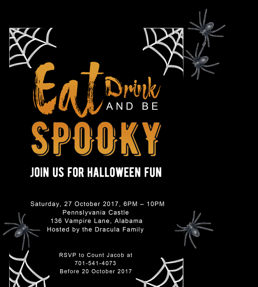 Free Printable Halloween Party Invitations 2018 [ Template]