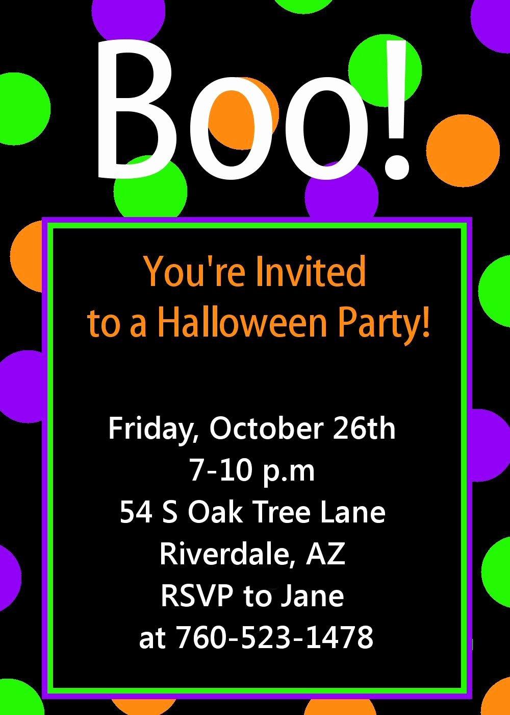 Free Printable Halloween Party Invitations Templates