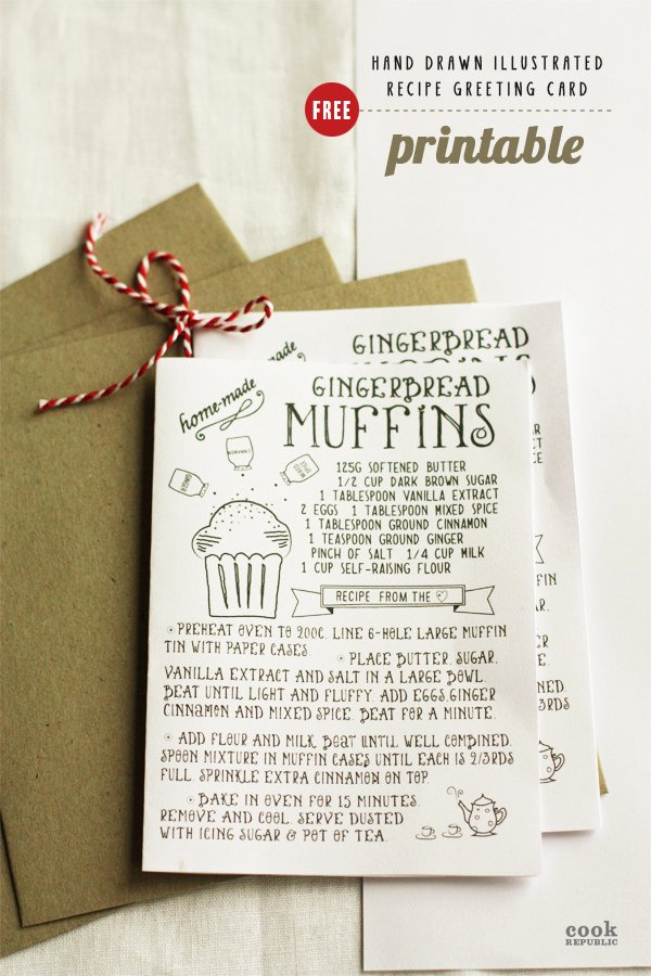 Free Printable Hand Drawn Illustrated Christmas Recipe