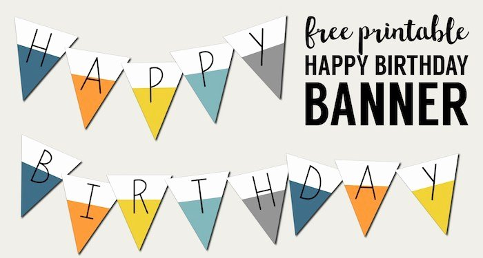 Free Printable Happy Birthday Banner Paper Trail Design
