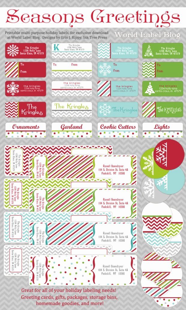 Free Printable Holiday Address Labels