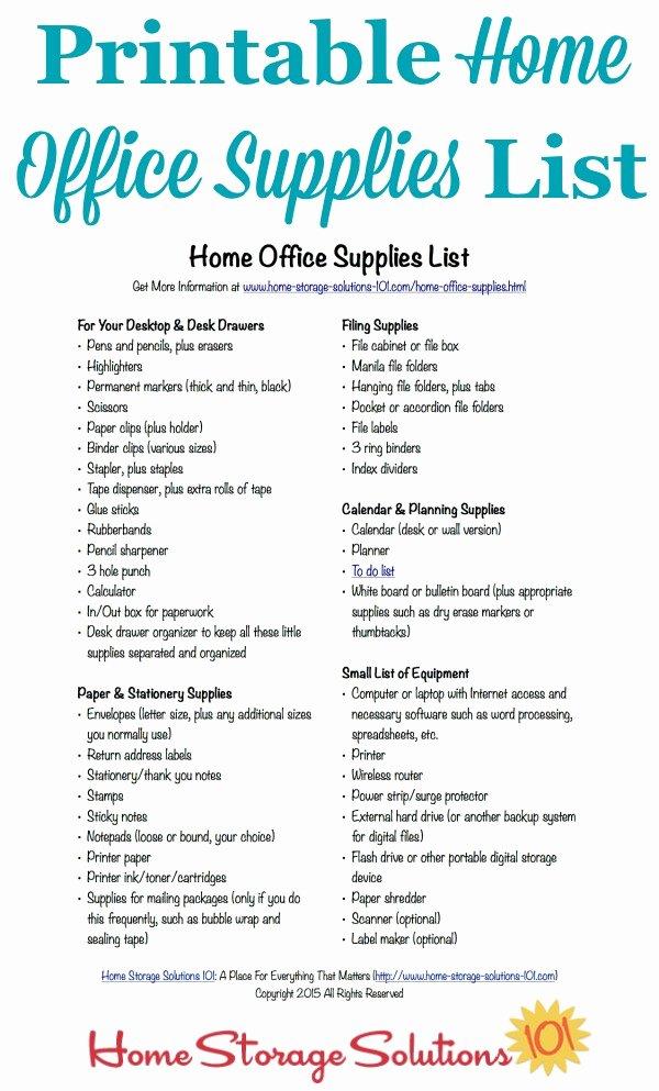 Free Printable Home Fice Supplies List