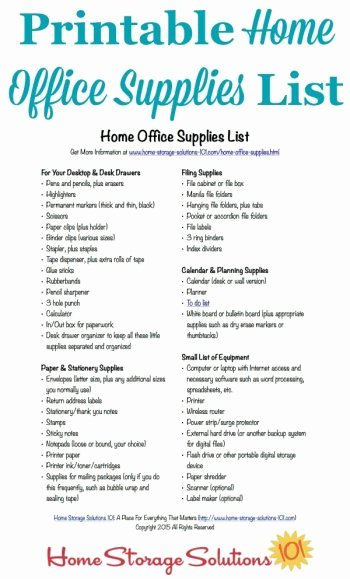 Free Printable Home Fice Supplies List