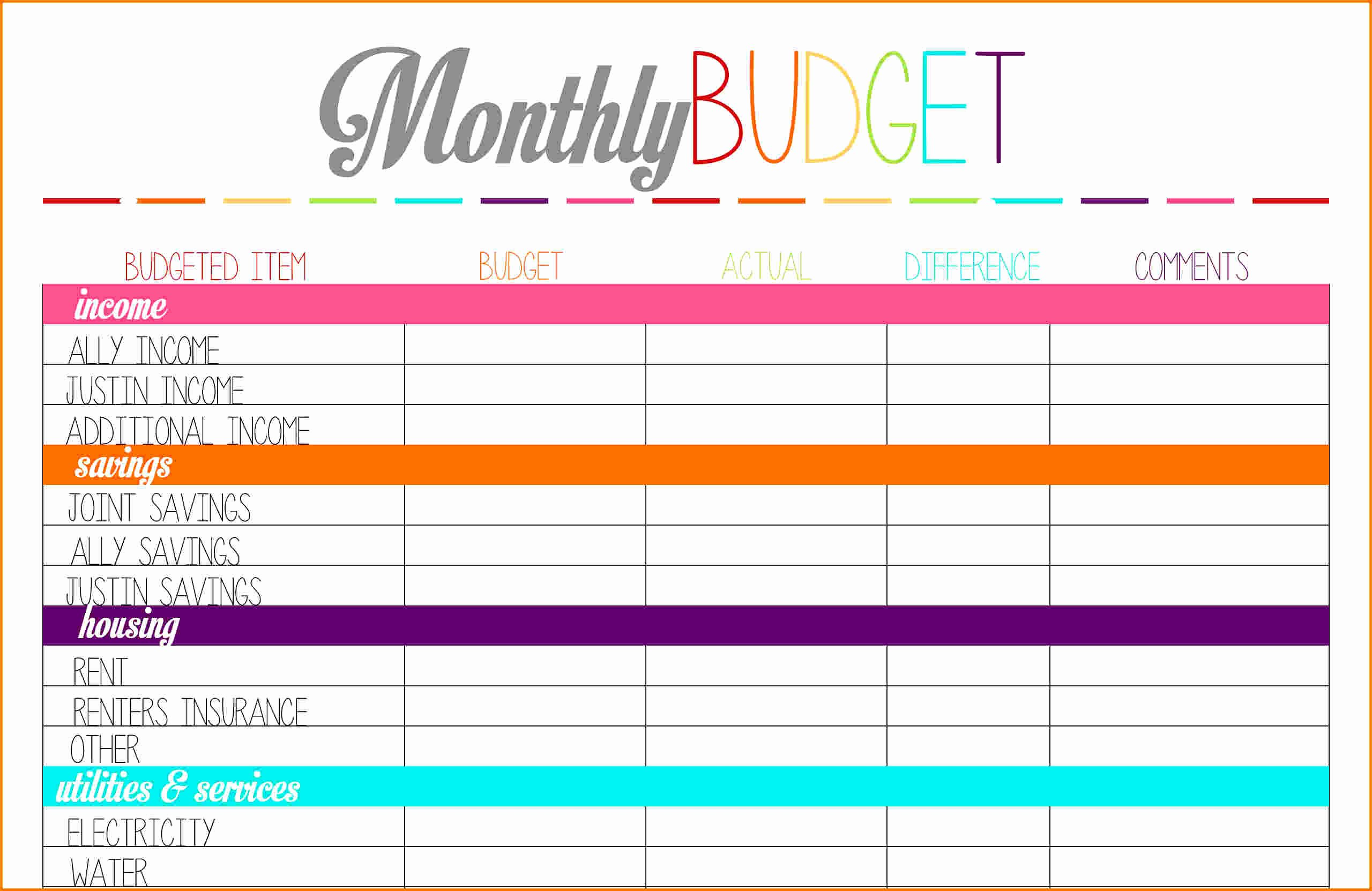 Free Printable Household Expense Worksheet Expense