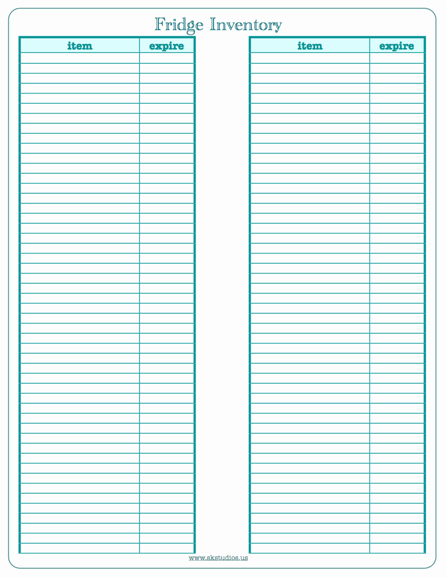 Free Printable Inventory Templates