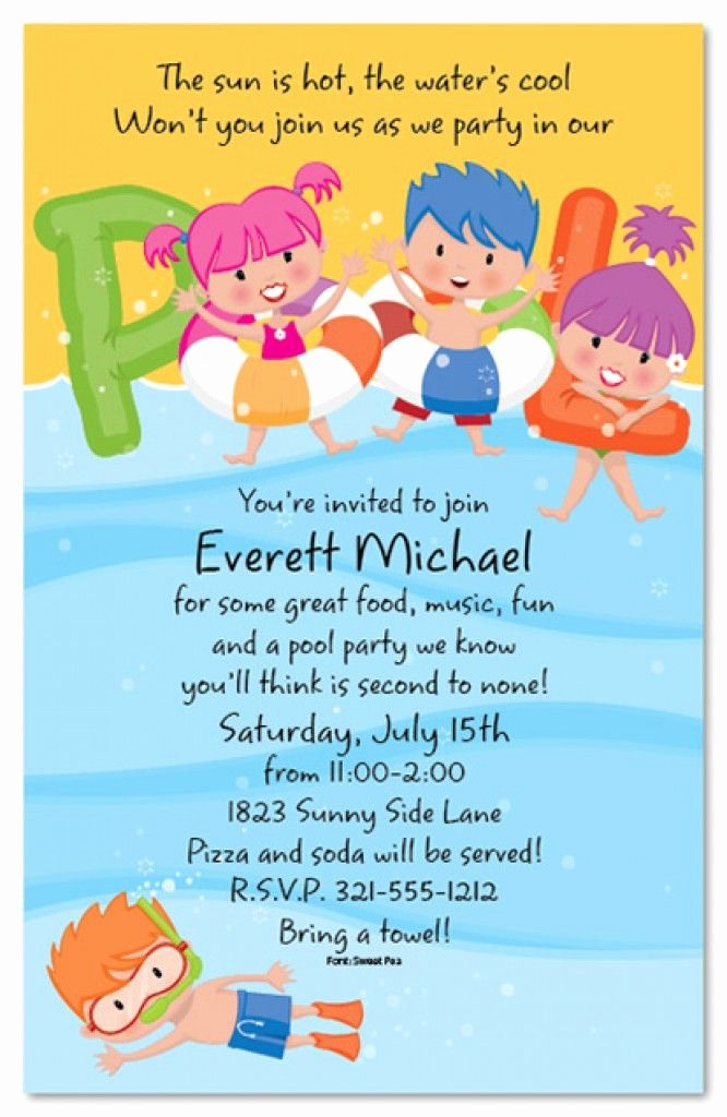 Free Printable Kids Pool Party Invitations Templates 4