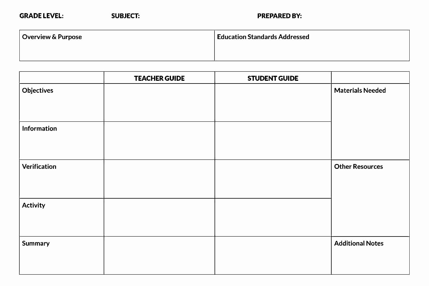 Free Printable Lesson Plan Template Word format Sample