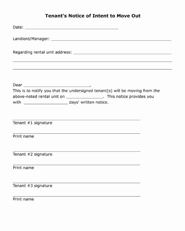 Free Printable Letter Tenant S Notice Of Intent to Move