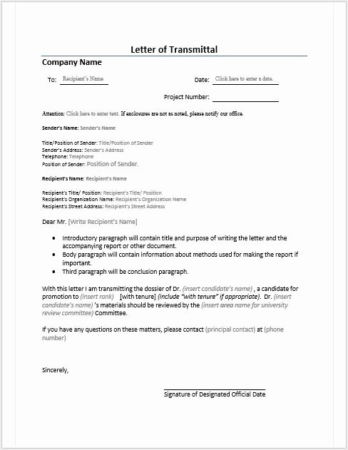 Free Printable Letter Transmittal Template Word 2302