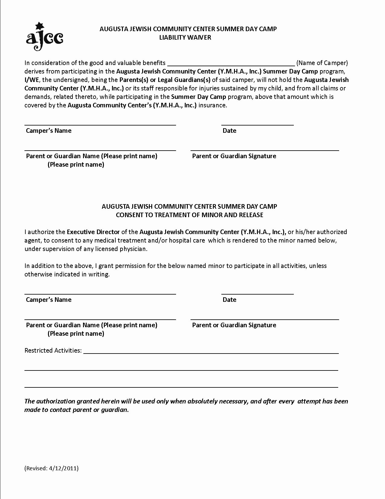 Free Printable Liability form form Generic