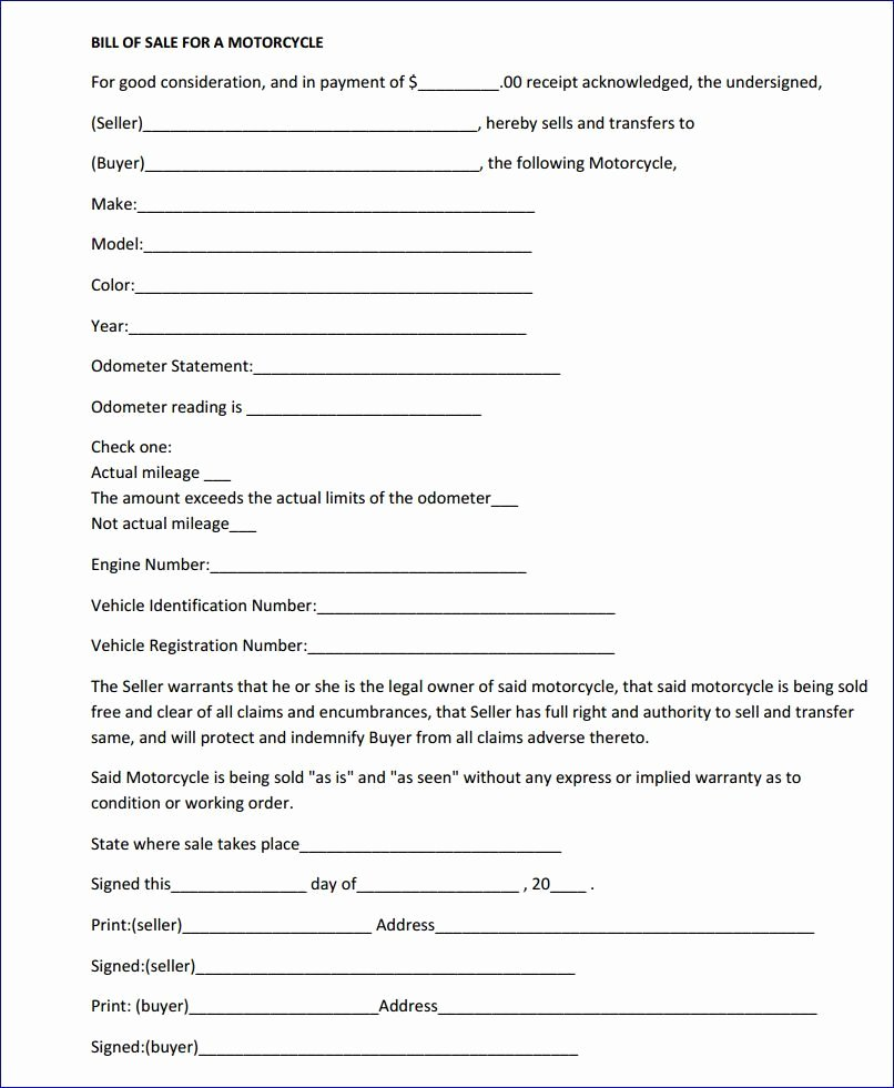 Free Printable Massachusetts Motorcycle Bill Of Sale form