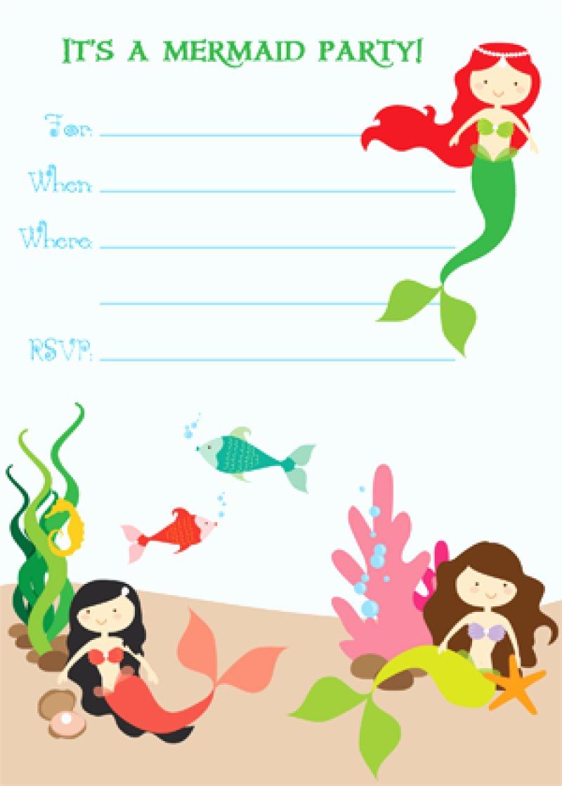 Free Printable Mermaid Birthday Invitation