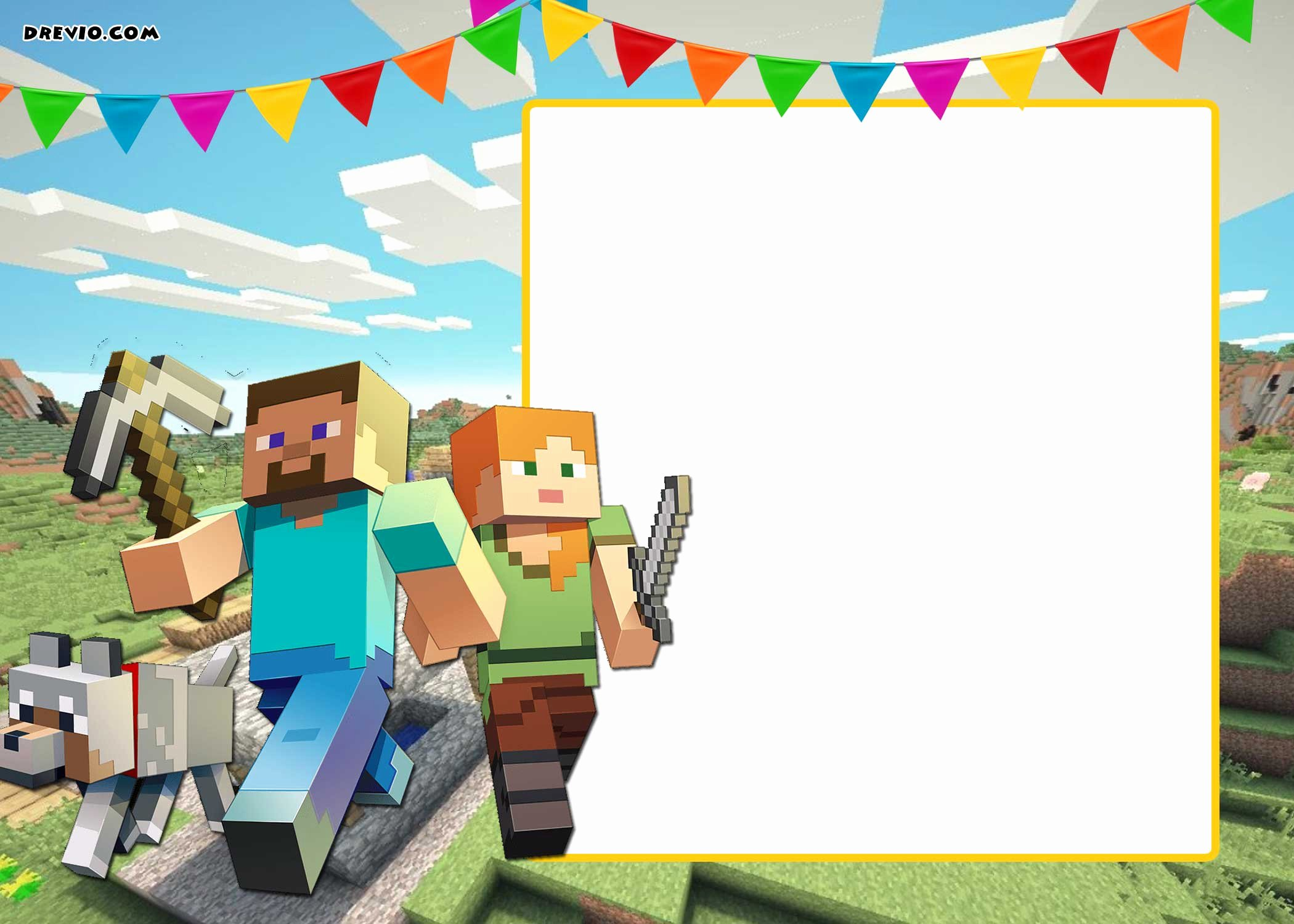 Free Printable Minecraft Birthday Invitation Template