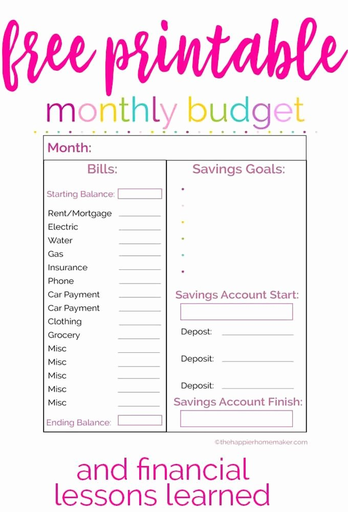 Free Printable Monthly Bud Sheet Template Free