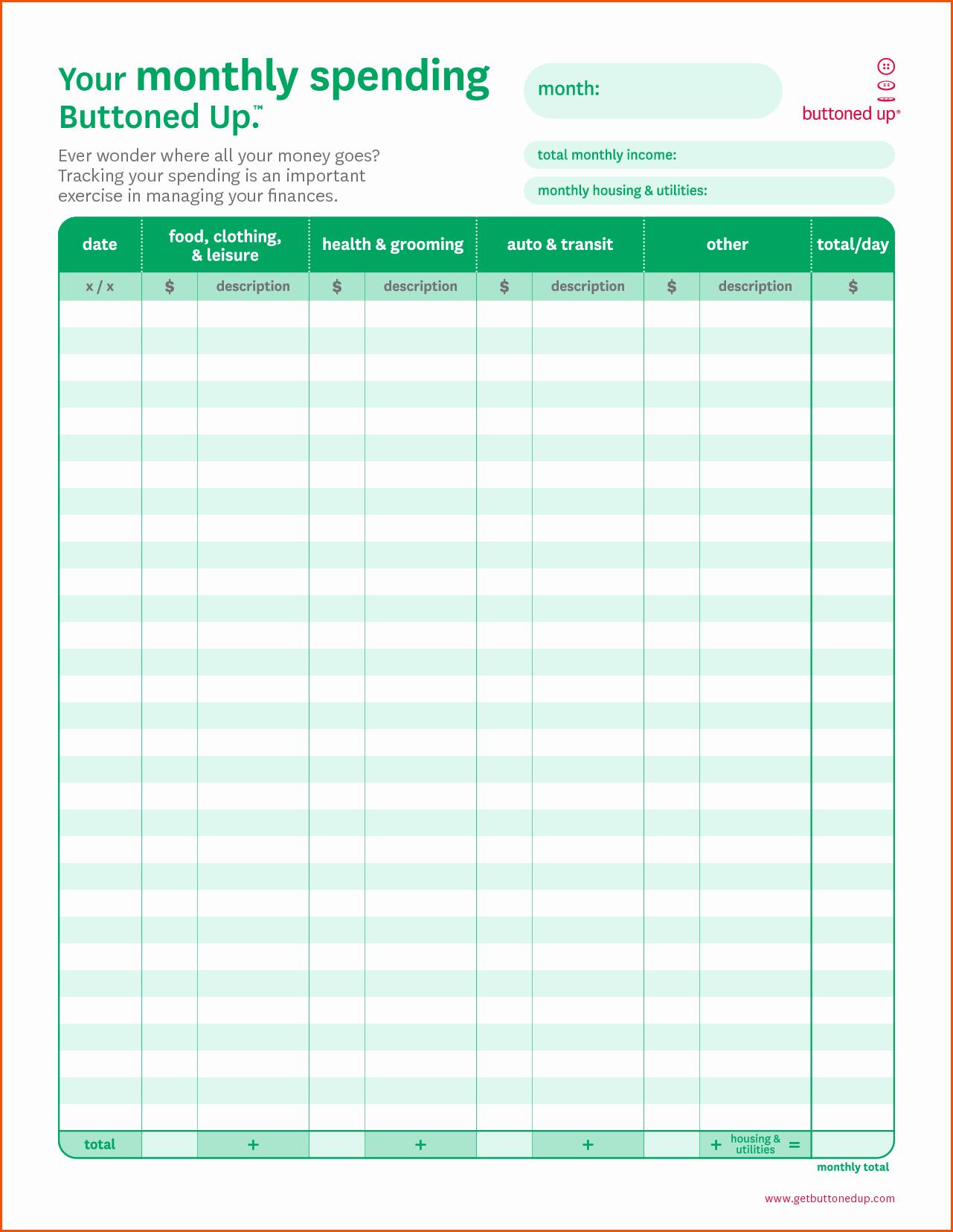 Free Printable Monthly Bud Worksheet