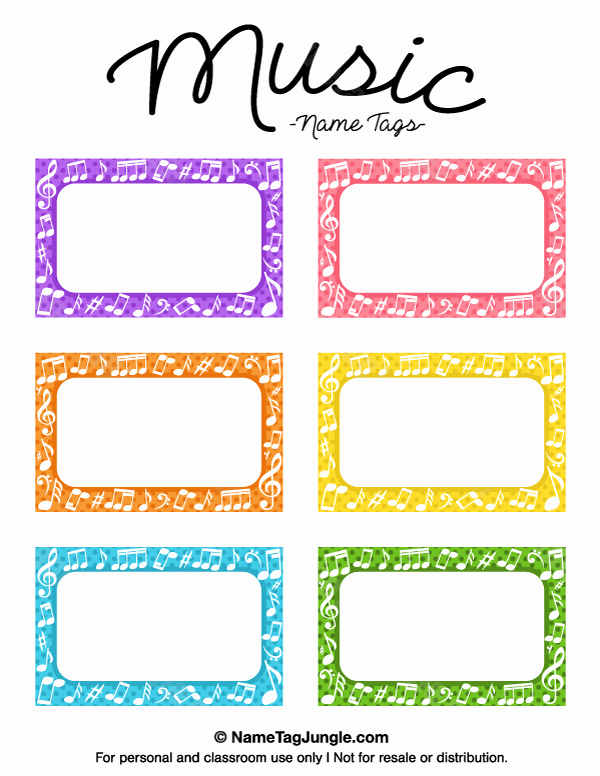 Free Printable Music Name Tags the Template Can Also Be