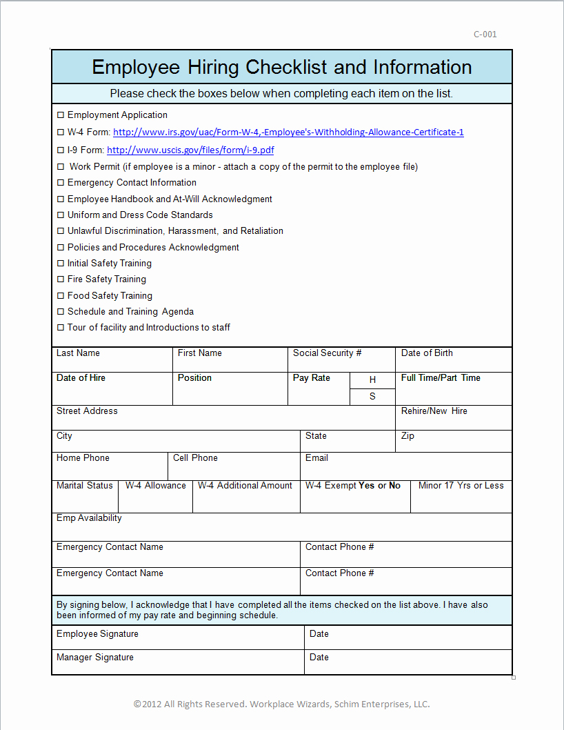 Free Printable New Hire forms Search Results