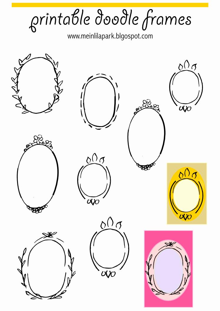 Free Printable Oval Frame Doodles Rahmen Freebie