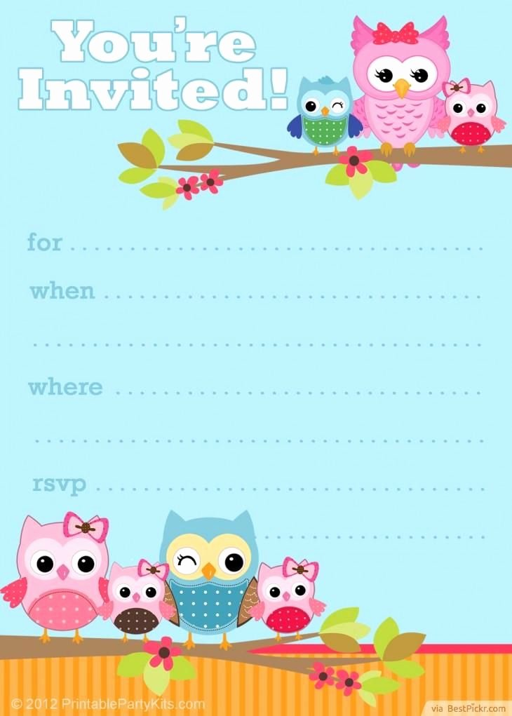 Free Printable Owl Party Invitation Template