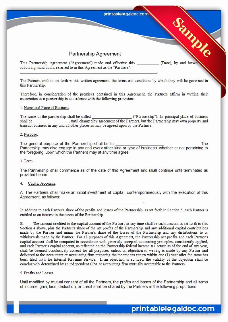 Free Printable Partnership Agreement form Generic