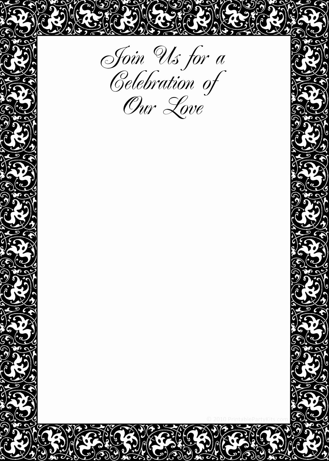 Free Printable Party Invitations Black and White Mitment Ceremony Invitation