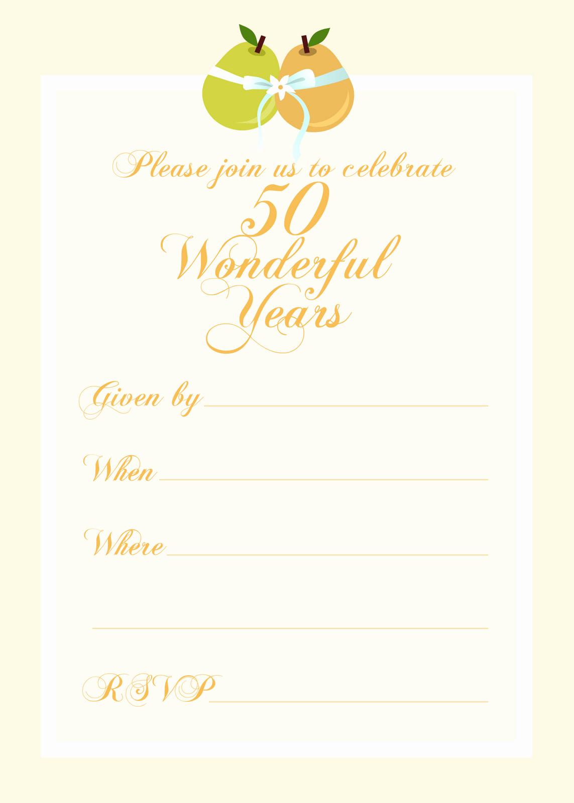 Free Printable Party Invitations Free 50th Wedding
