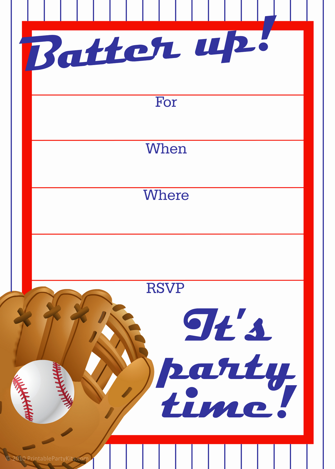 Free Printable Party Invitations Free Baseball Birthday