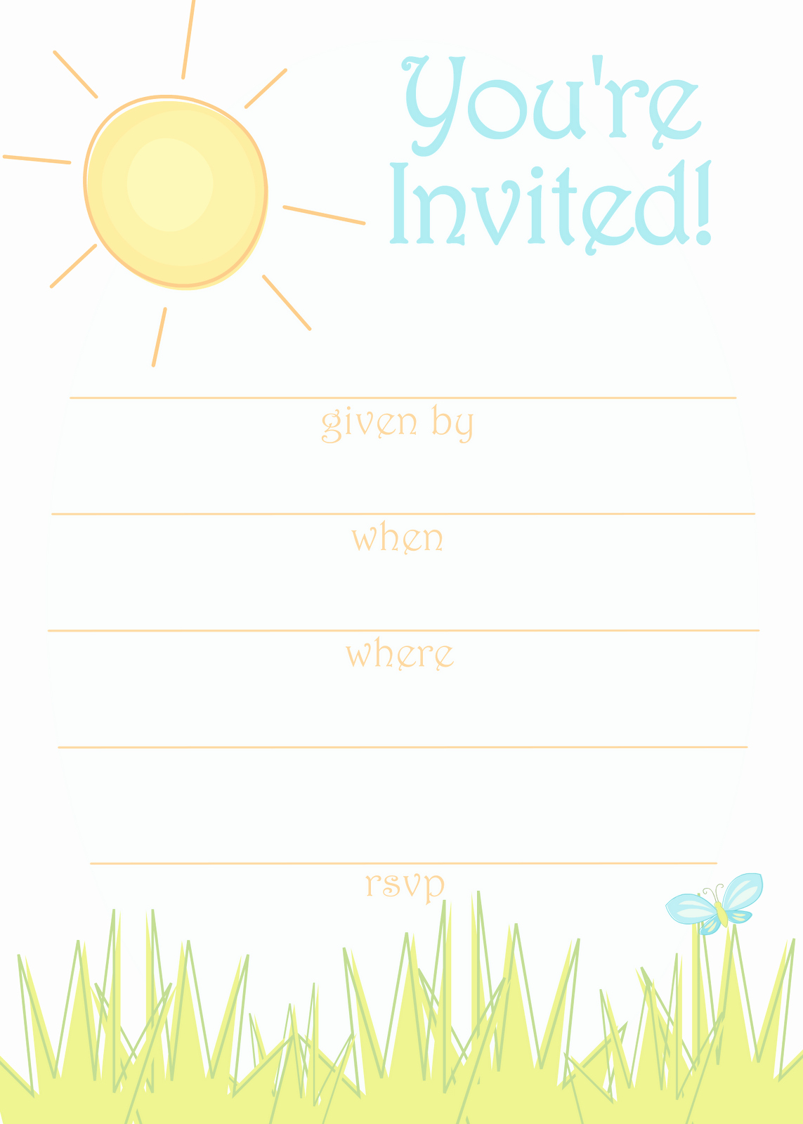 Free Printable Party Invitations Sunny Day Invitation for