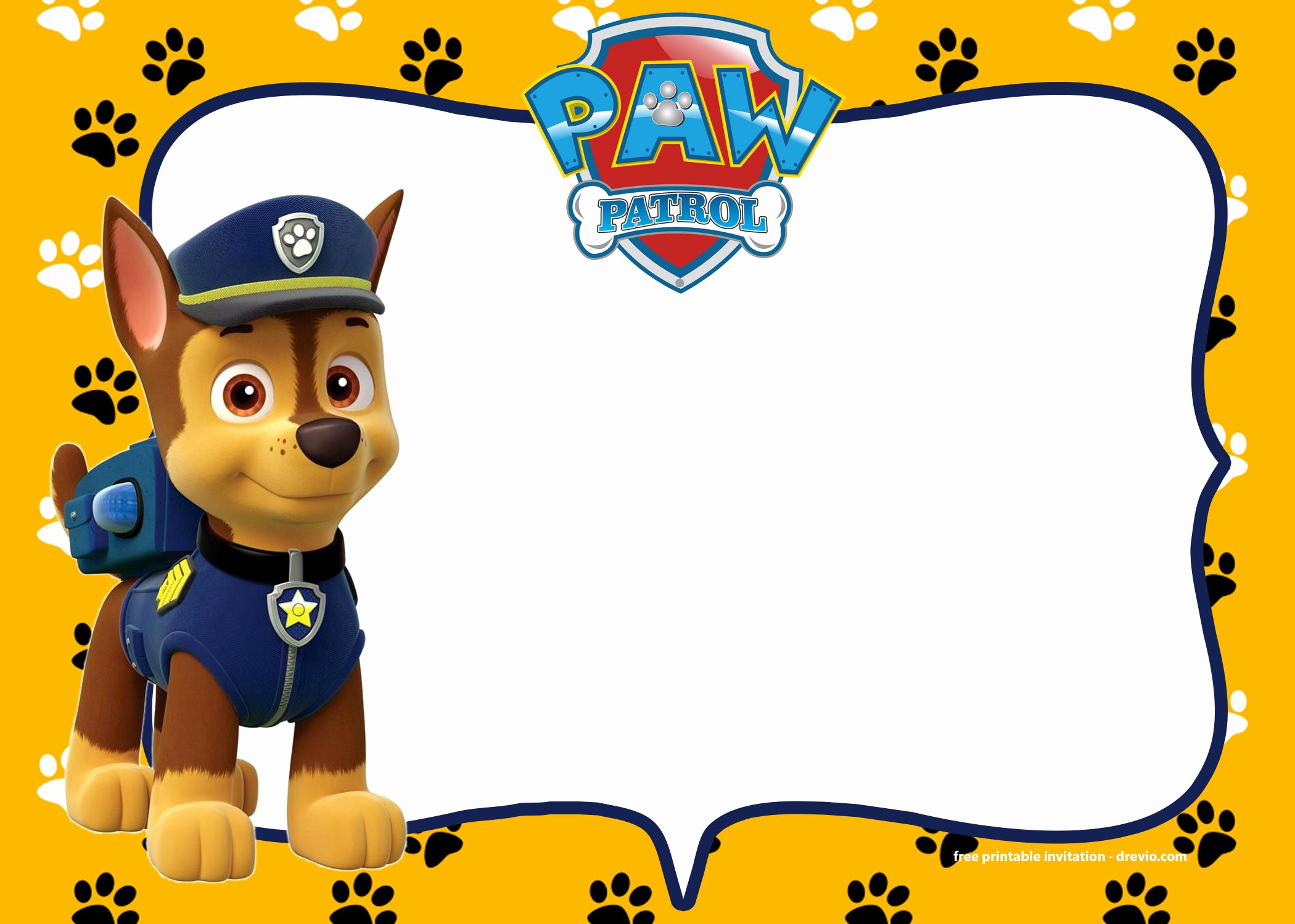 Free Printable Paw Patrol Chase Invitation Template