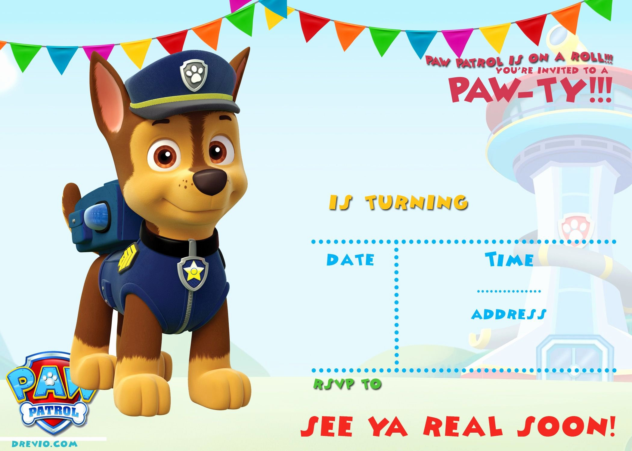 Free Printable Paw Patrol Invitation Template All