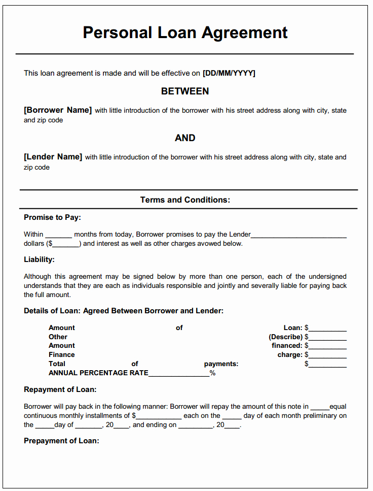Free Printable Personal Loan Agreement Printable Agreements