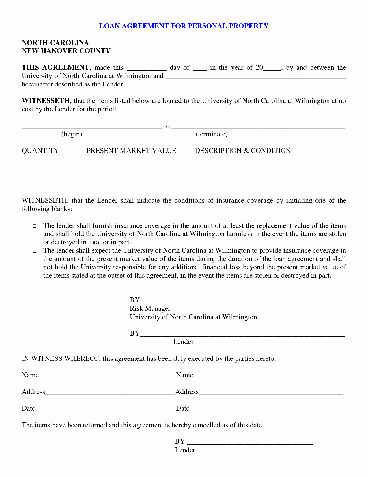 Free Printable Personal Loan Contract form Generic