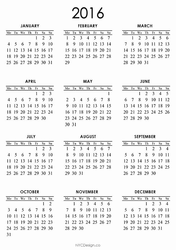 Free Printable Pocket Monthly Calendar 2016