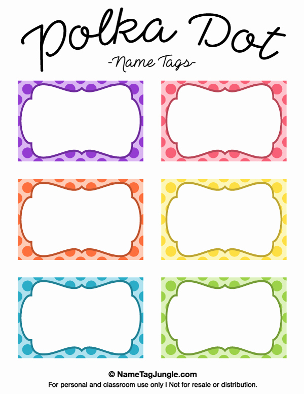 Free Printable Polka Dot Name Tags the Template Can Also