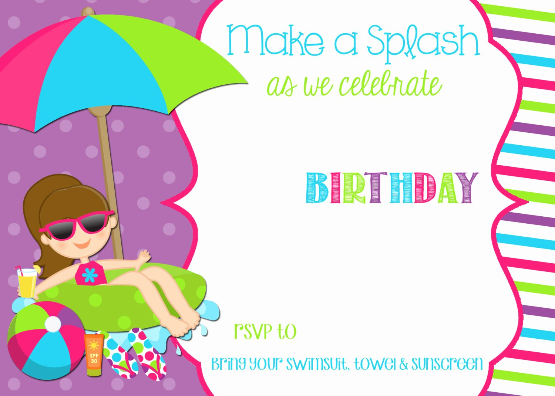 Free Printable Pool Party Birthday Invitation