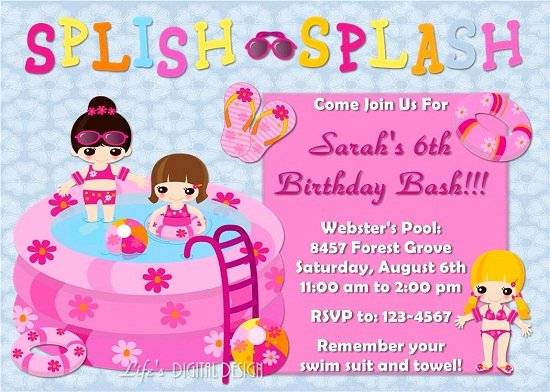 Free Printable Pool Party Birthday Invitations – Bagvania