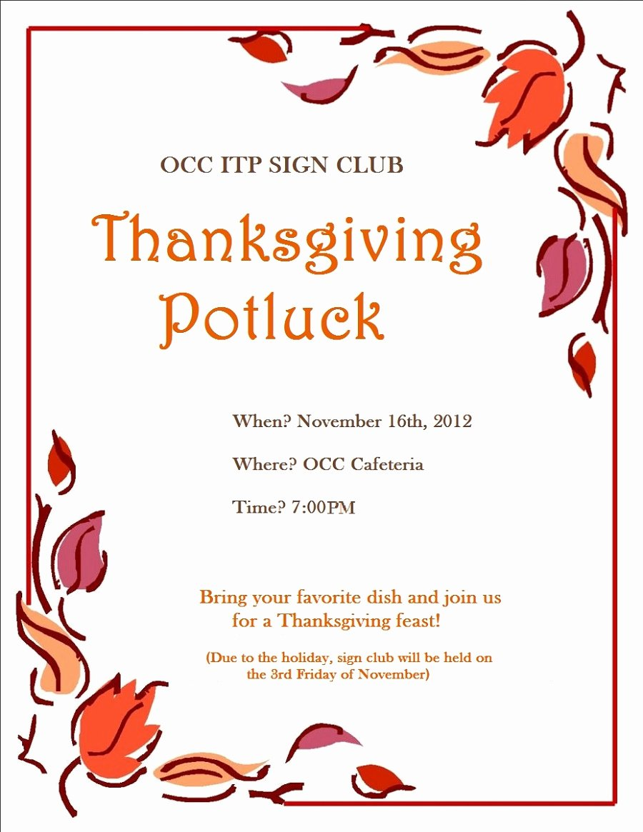 Free Printable Potluck Flyers for Gathering