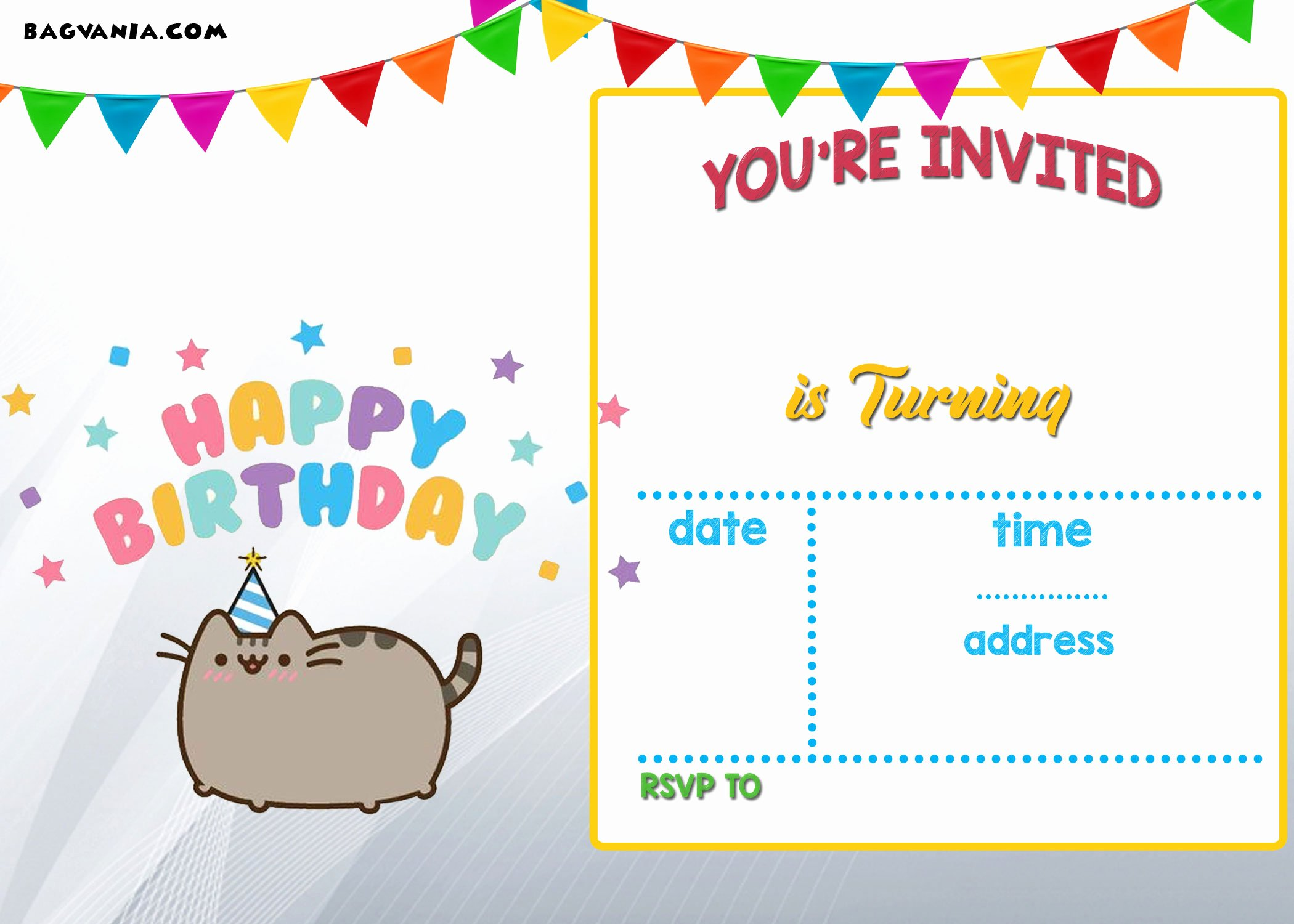 Free Printable Pusheen Birthday Invitation Template