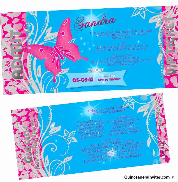 Free Printable Quinceanera Invitation Ticket
