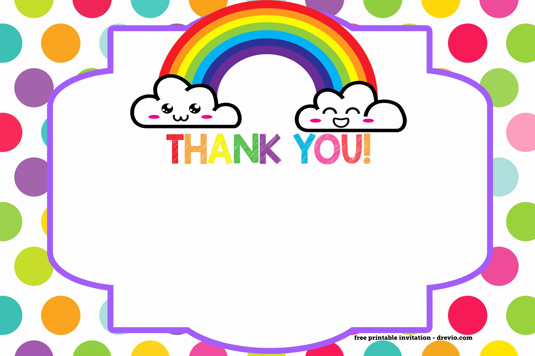 Free Printable Rainbow Invitation Template Thank You