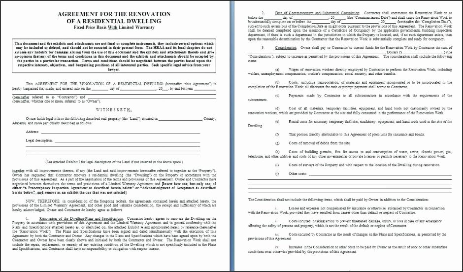 Free Printable Remodeling Contract Template Word 57